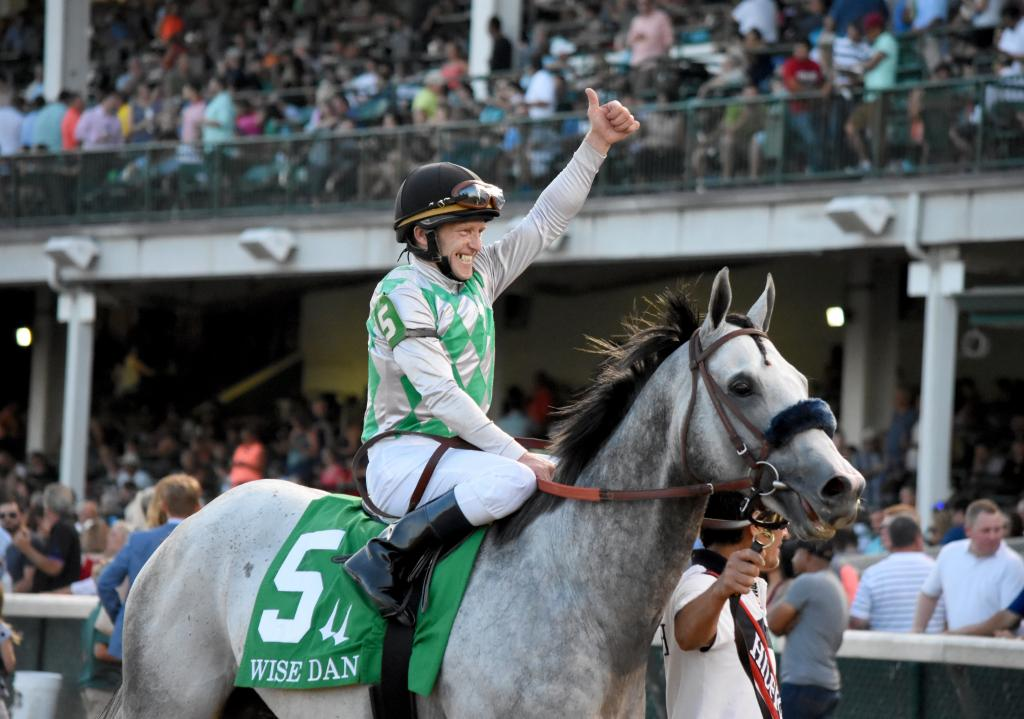 Jockey James Graham was understandably thrilled about the victory, maybe even more so than his mount. As Kasaqui headed home, it was time for the Kentucky Derby to shine again under the spires. (Melissa Bauer-Herzog/America's Best Racing)