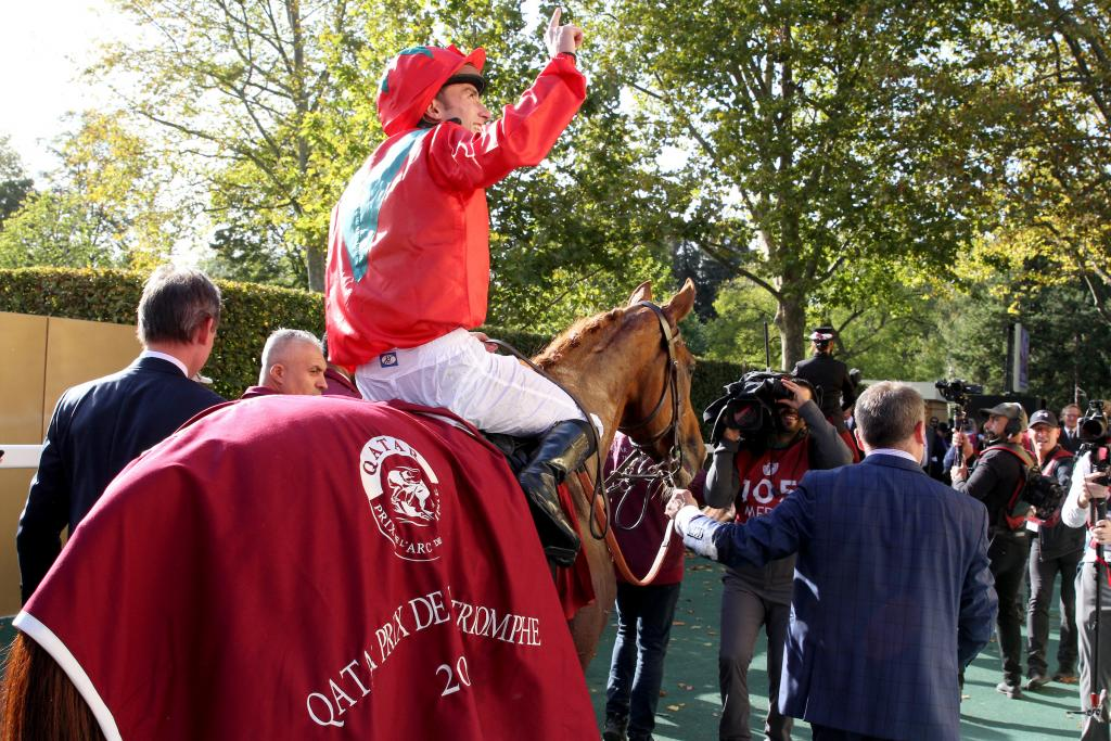 Jockey Pierre-Charles Boudot celebrates on Waldgeist after winning the Arc. (Eclipse Sportswire)