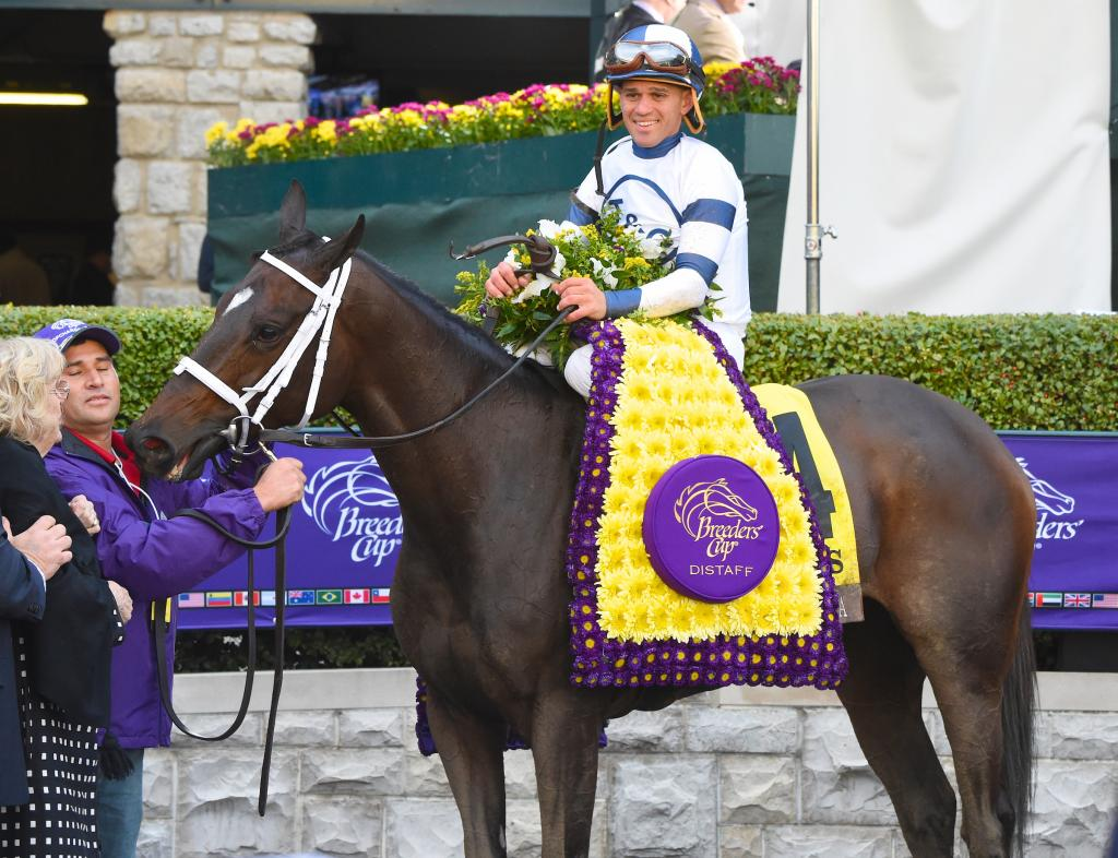 Stopchargingmaria closed powerfully under Javier Castellano to win the Longines Breeders' Cup Distaff.