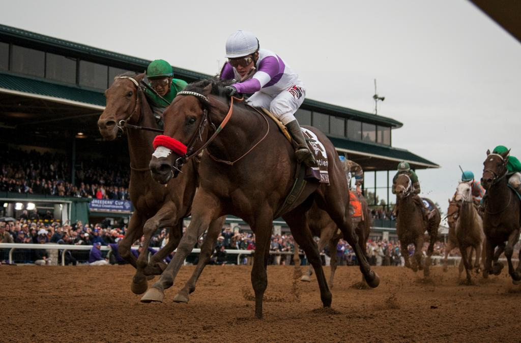 Nyquist overcame early trouble to prevail in the Sentient Jet Breeders' Cup Juvenile under Mario Gutierrez.
