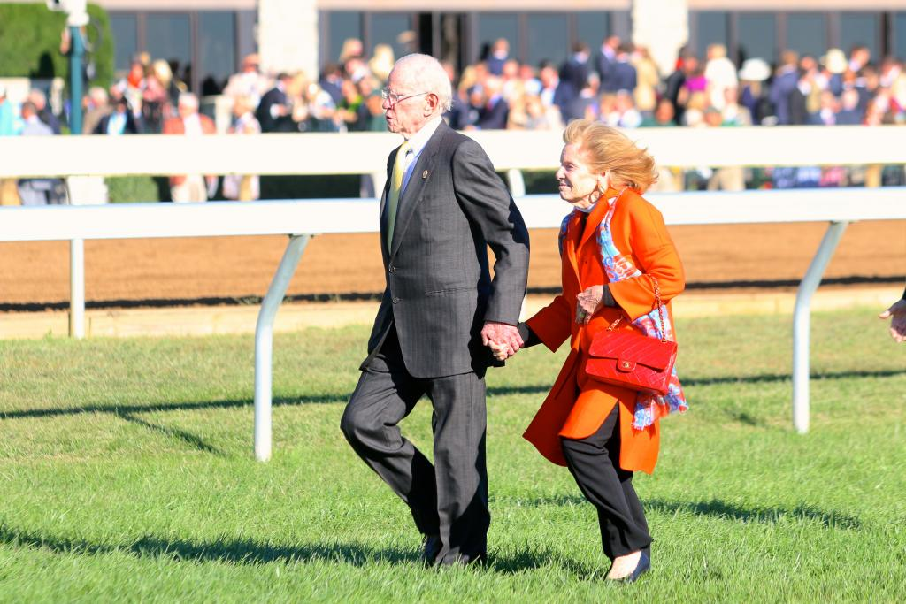 Lane's End owners Will and Sarah Farish walked hand-in-hand to the winner's circle. It's wonderful to know that no matter how established you are in this business, a major win at Keeneland is cause to celebrate! (Penelope P. Miller/America's Best Racing)