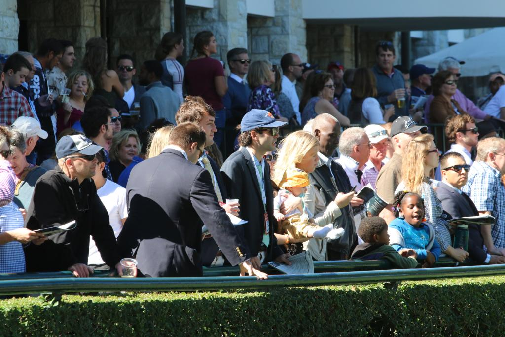 "Then it was time for the race I was most excited for: the First Lady Stakes featuring ""Queen of the Turf"" Tepin. And I wasn't alone: fans packed the rail of the saddling paddock to catch a glimpse of the famous mare before the race. (Penelope P. Miller/America's Best Racing)"