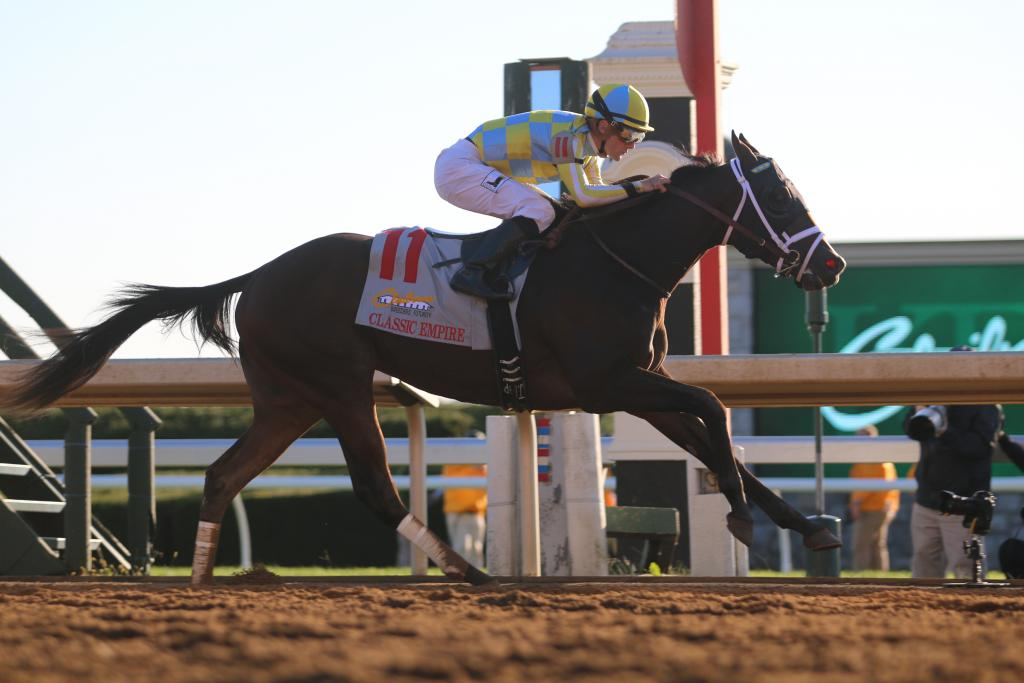 And while twelve horses left the starting gate as one, it was Classic Empire all alone at the finish line as he bested the rest to win the Claiborne Breeders' Futurity. (Penelope P. Miller/America's Best Racing)