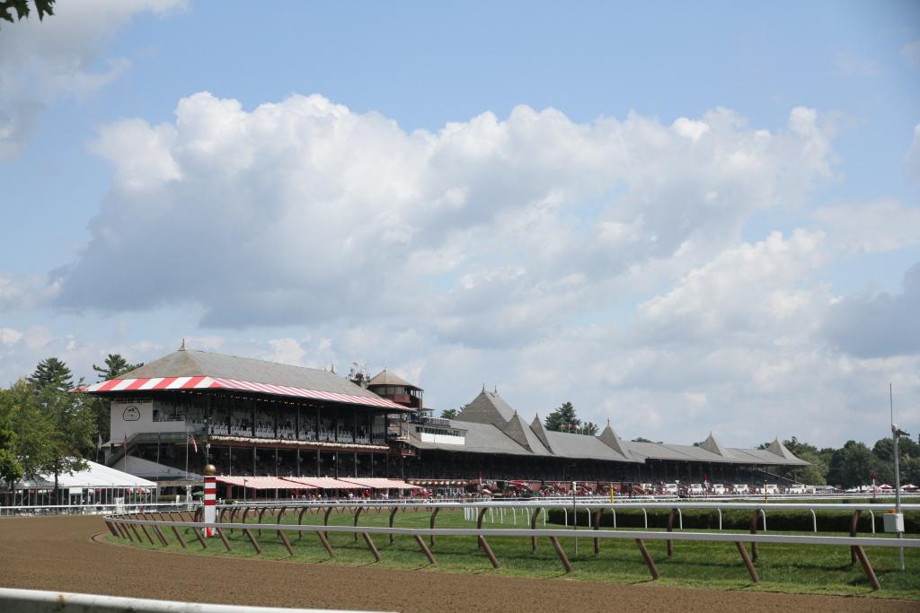 Fans were in for a treat, too: the blue skies, puffy cotton candy clouds, and warm temperatures promised a spectacular day at the Spa. (Penelope P. Miller/America's Best Racing)