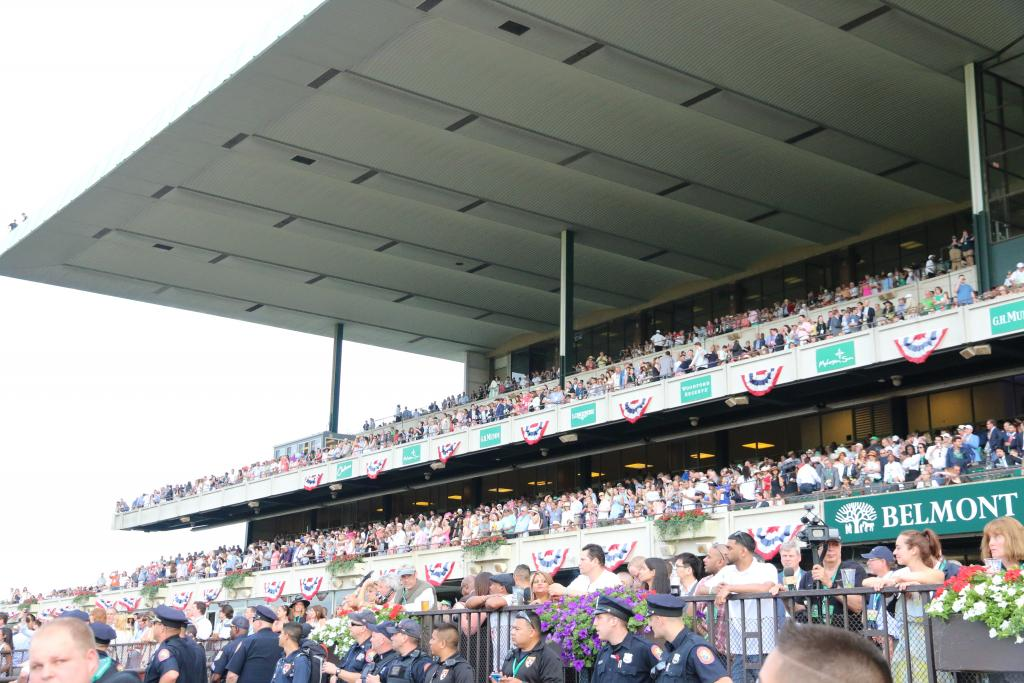 "Suddenly, it was time for the Belmont Stakes. At this point, the grandstand was packed with fans ready to take in the ""Test of the Champion,"" and the atmosphere was electric as we waited for the runners to head to the track. (Penelope P. Miller/America's Best Racing)"