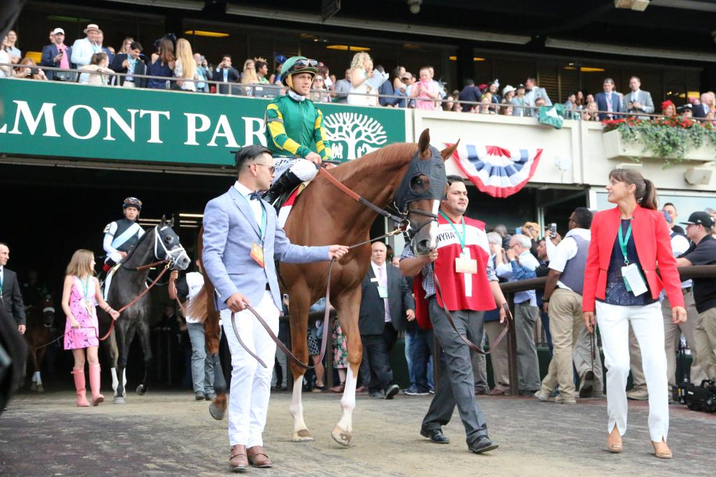 "Twisted Tom was the first Belmont Stakes horse to emerge as nearly 60,000 joined voices to sing the official Belmont anthem, ""New York, New York."" (Penelope P. Miller/America's Best Racing)"