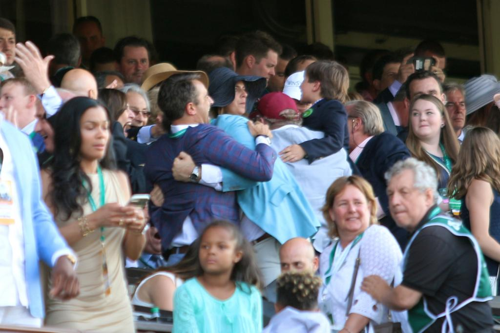 I pivoted to the box seat area, where I managed to find team Tapwrit in a celebratory dog pile. Everyone was hugging and cheering, and their joy was contagious! (Penelope P. Miller/America's Best Racing)