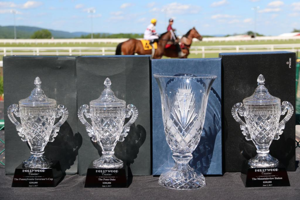 I glimpsed some of the stunning trophies being awarded to the winners of the six stakes races (AKA the high-profile contests worth lots of money.) The etched glass winked in the afternoon light, and I knew there would be some happy owners that afternoon! (Penelope P. Miller/America's Best Racing)