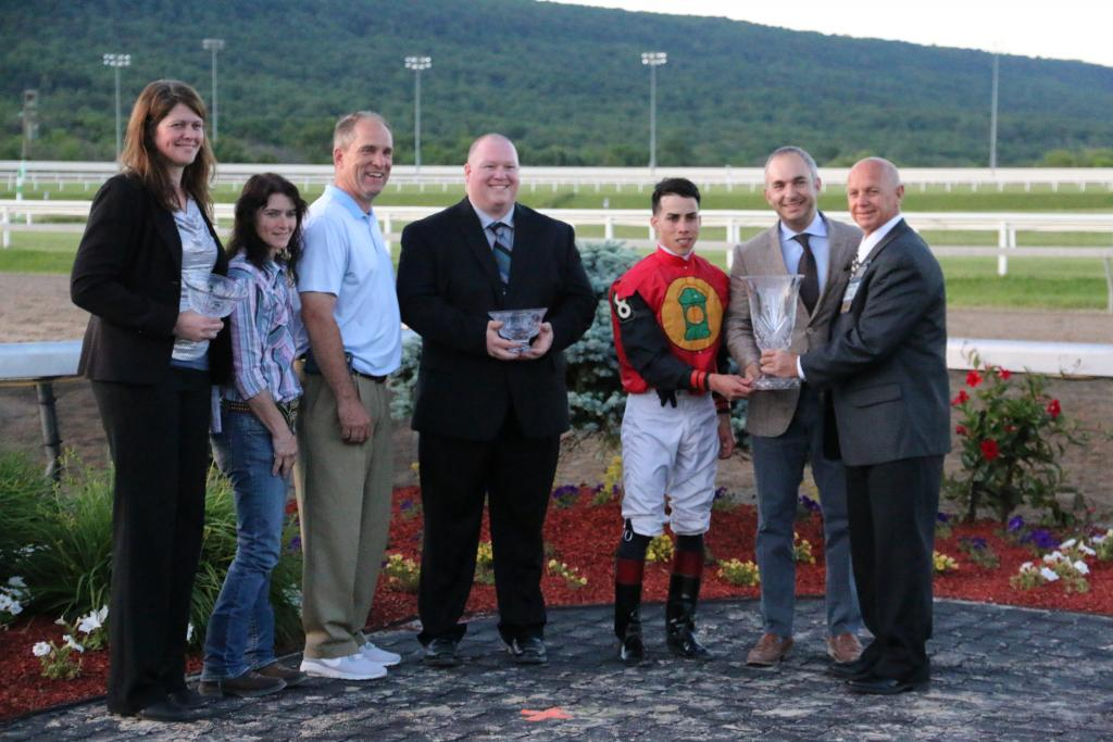 Then, it was time for the trophy presentations. Frostmourne's connections gathered in the winner's circle to accept their trophies, bringing an end to a spectacular afternoon at Penn National. (Penelope P. Miller/America's Best Racing)