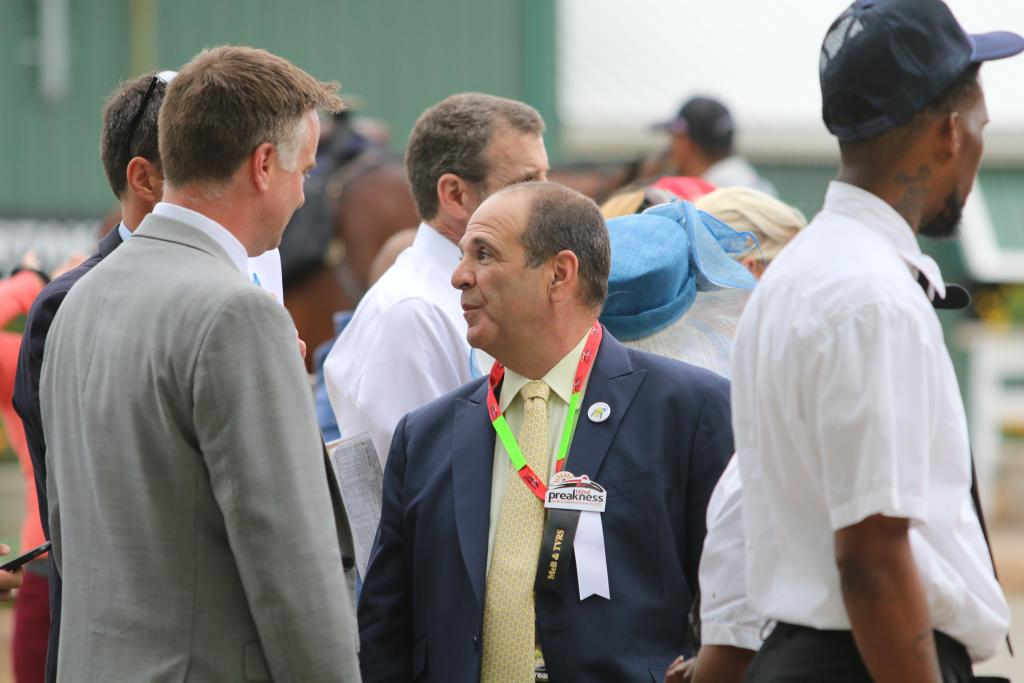 I spotted Always Dreaming's co-owner Anthony Bonomo as he waited to see his Kentucky Derby winner attempt to capture the next leg of the Triple Crown. (Penelope P. Miller/America's Best Racing)