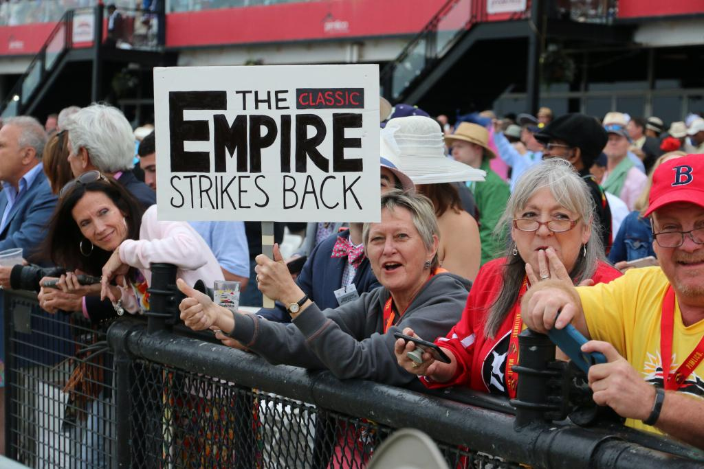 I also saw this woman who had this awesome hand-made sign showing her support for Classic Empire – I love everything about this! (Penelope P. Miller/America's Best Racing)