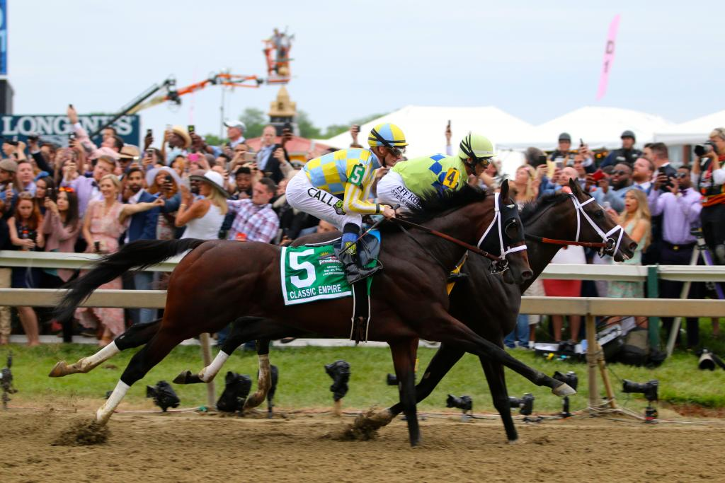 Finally, it was race time! With a clang of gates and a roar of the crowd, the Preakness Stakes began with Always Dreaming and Classic Empire leading the way through the opening strides. (Penelope P. Miller/America's Best Racing)