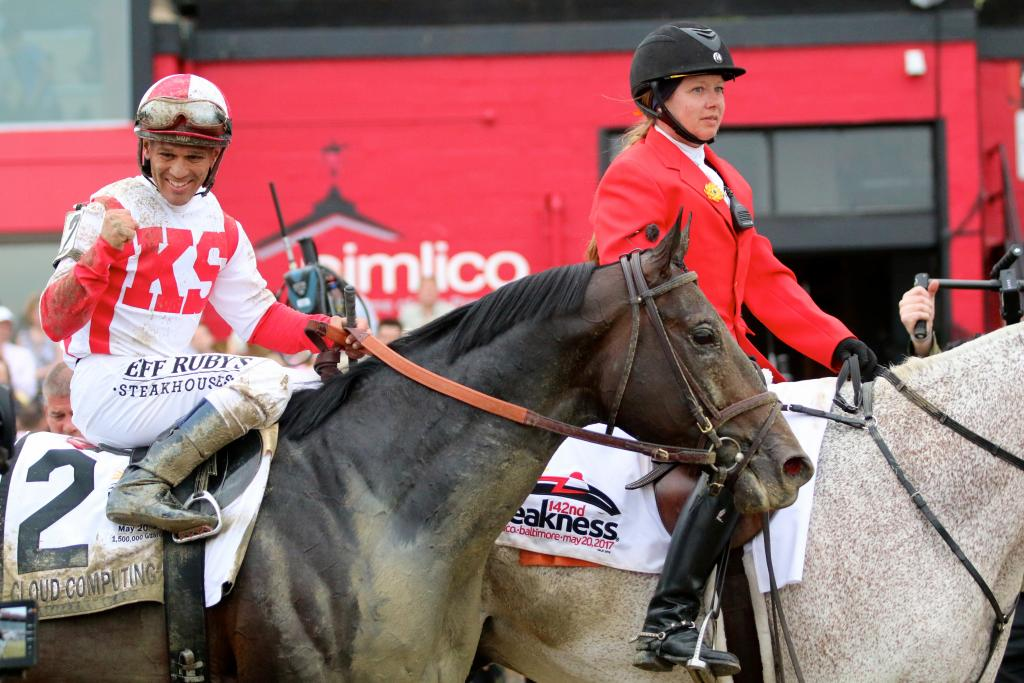 After the win, Javier celebrated his Preakness victory aboard Cloud Computing, sending a thumbs-up to the NBC cameras recording every moment. (Penelope P. Miller/America's Best Racing)