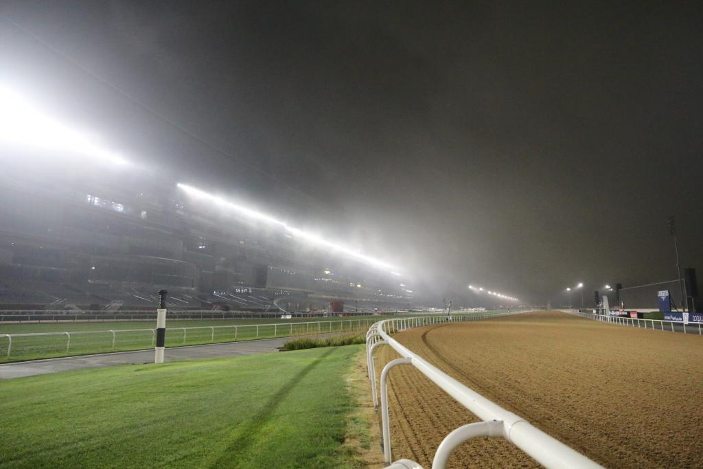 The fog begins to roll in over Meydan just prior to training hours beginning.  (Penelope P. Miller/America's Best Racing)