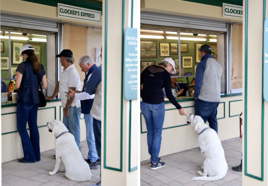 Carla Gaines's assistant trainer Louis waits in line every morning to get his breakfast bacon at Clocker's Corner. (Penelope P. Miller/America's Best Racing)