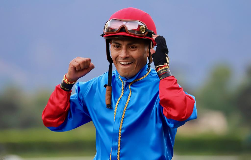 Jockey Abel Cedillo grins after his victory in the Awesome Again Stakes, which was the first Grade I win of Cedillo's career. (Penelope P. Miller/America's Best Racing)