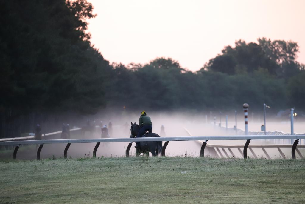 A peaceful misty morning at the Spa. (Penelope P. Miller/America's Best Racing)