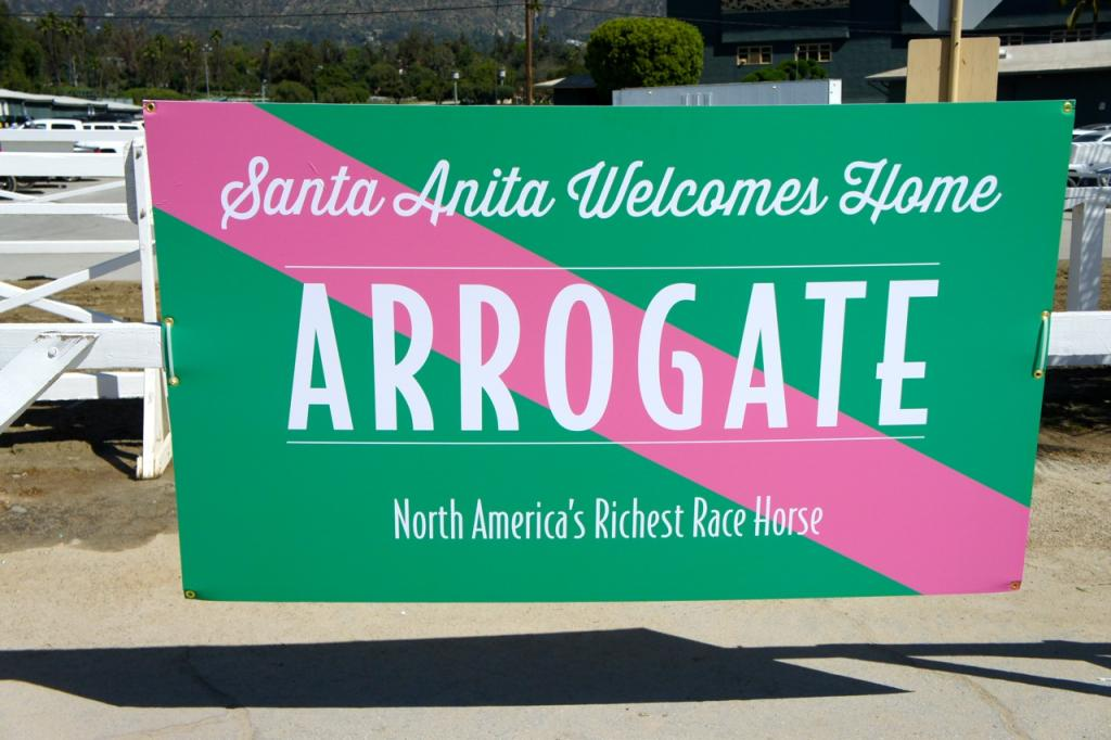 Welcome home signs were posted at the entrance to the backside and the Baffert barn. (Cynthia Holt photo)