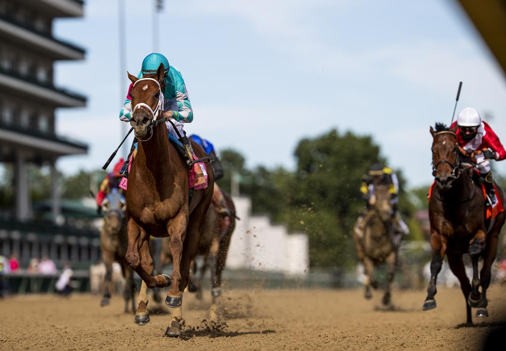 Monomoy Girl winning the La Troienne Stakes. (Evers/Eclipse Sportswire)