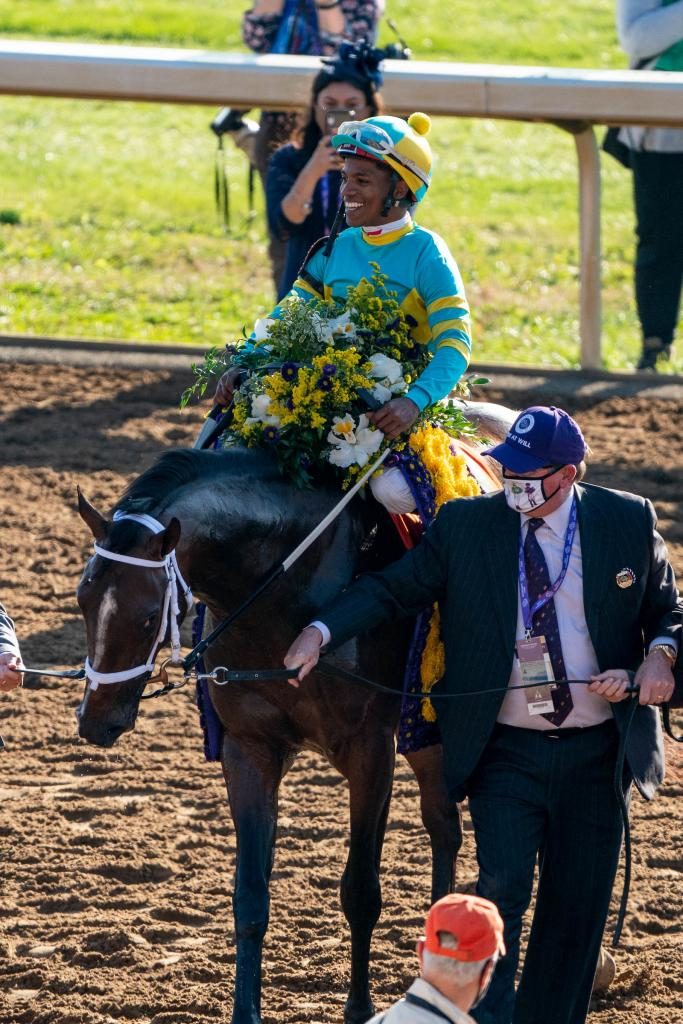 Fire At Will pulled off a 30-1 upset in the Breeders' Cup Juvenile Turf presented by Coolmore America. (Eclipse Sportswire)