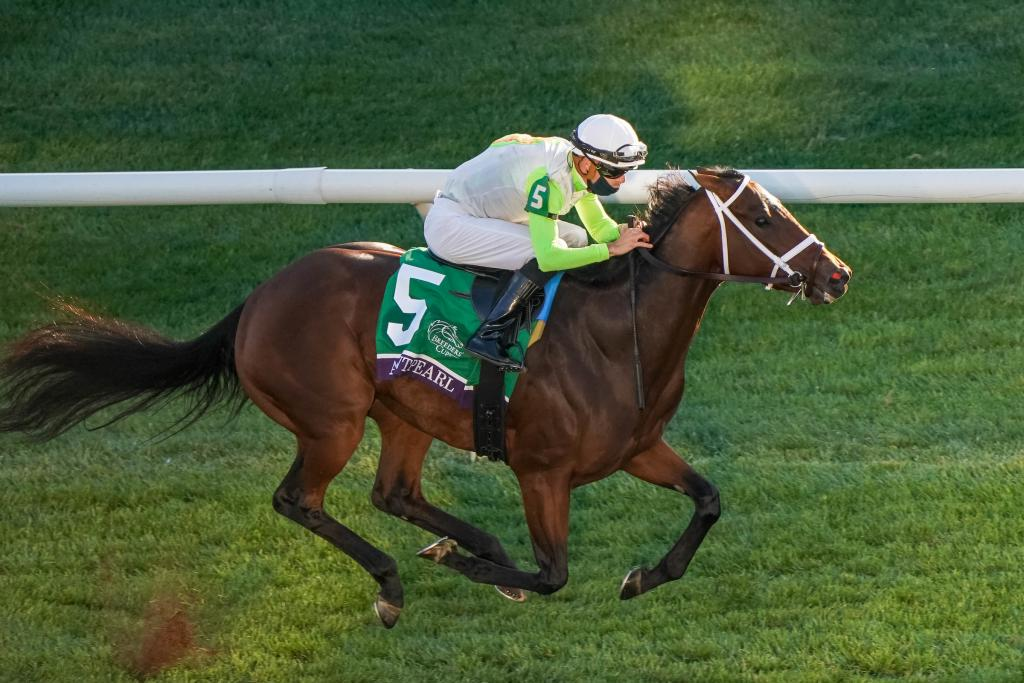 Aunt Pearl led from start to finish in the Breeders' Cup Juvenile Fillies Turf. (Eclipse Sportswire)