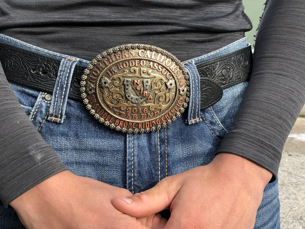 2016 Northern California Junior Rodeo Association Saddle Bronc Riding Champion Buckle. (Julie June Stewart photo)