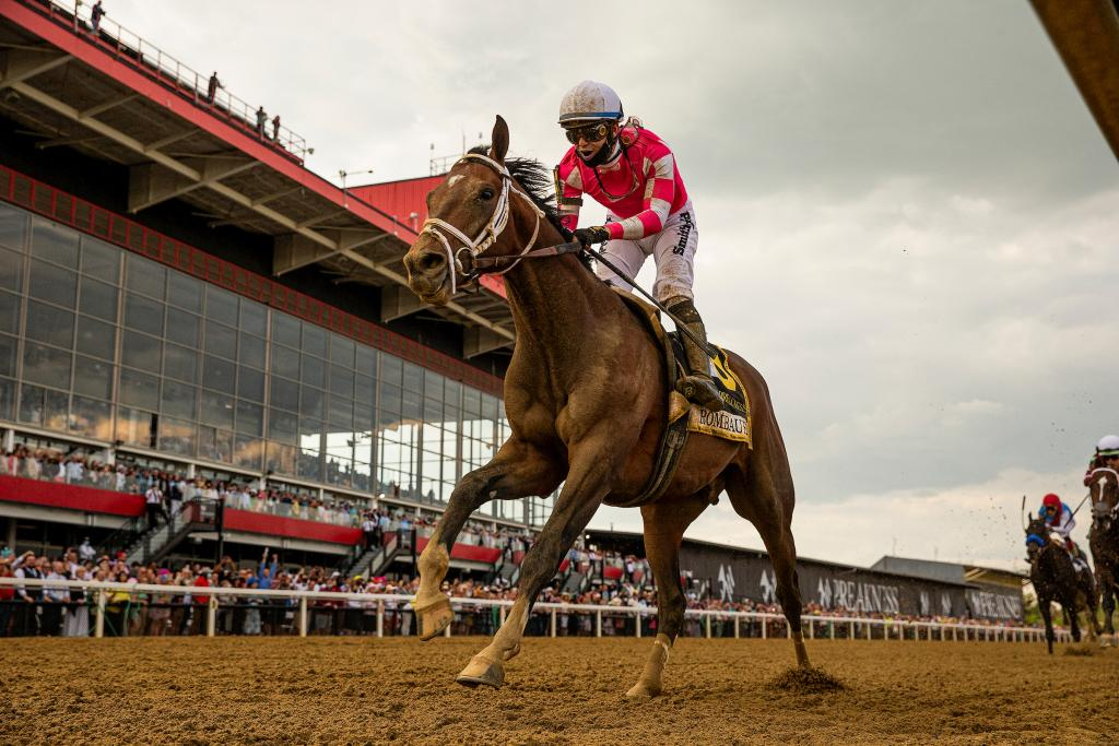 Rombauer winning 2021 Preakness Stakes May 15 at Pimlico. (Eclipse Sportswire)
