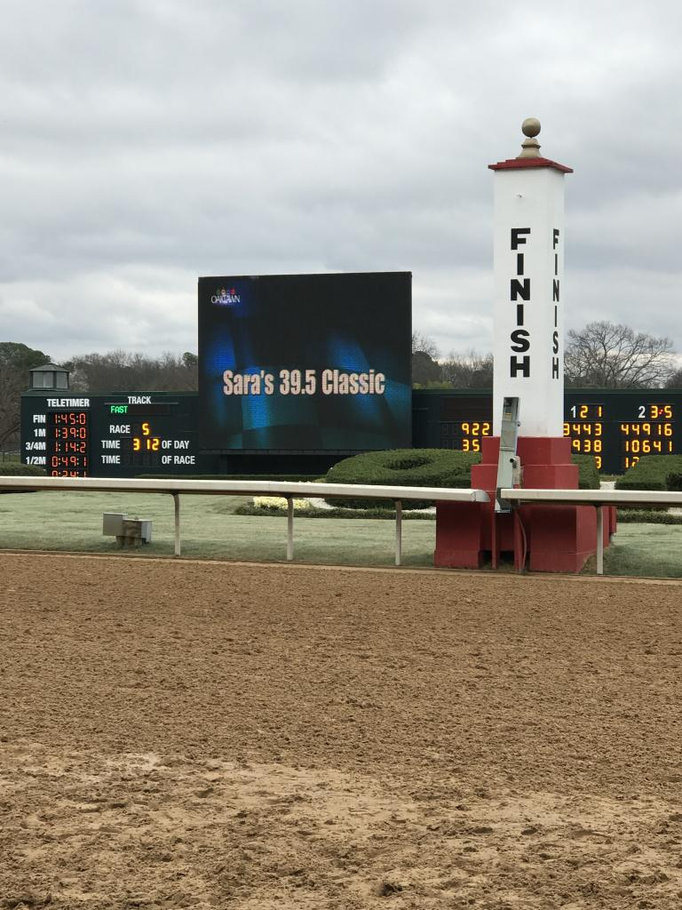 Sara's 39.5 Classic on the infield video screen. (Courtesy of Sara Dacus)