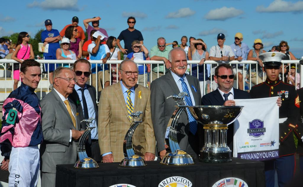 As Mondialiste headed back to the barn, his connections were given their trophies. In a press conference after the victory, we were told by David O'Meara that they will be looking at more U.S. races for him, including the Breeders' Cup. (Melissa Bauer-Herzog/America's Best Racing)
