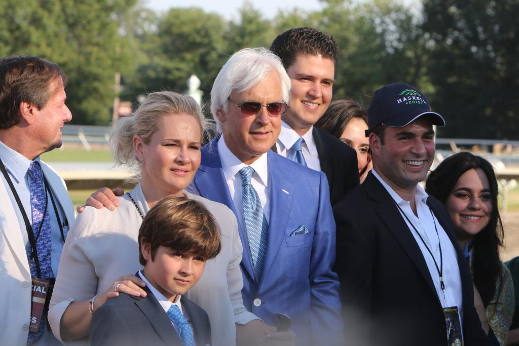 Hall of Famer Baffert with his son, Bode, and wife, Jill. (Eclipse Sportswire)