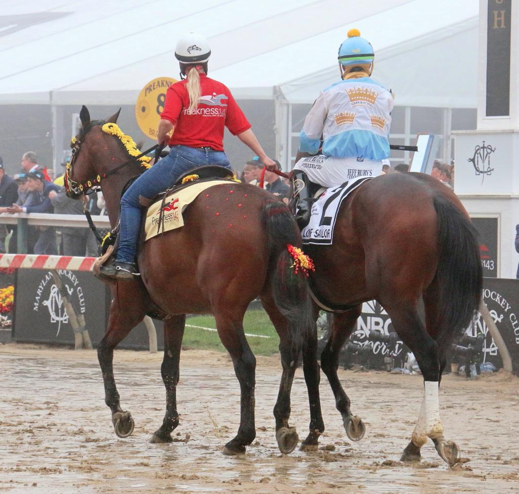 A decorated pony leads Lone Sailor to the gate. (Julie June Stewart photo)