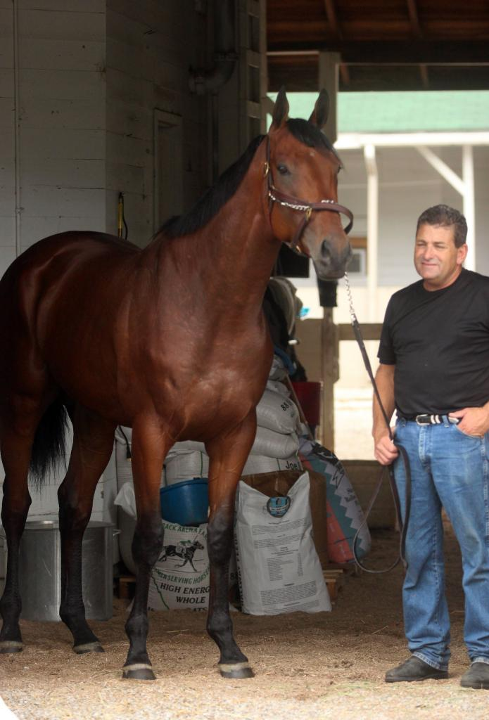 American Pharoah arrives at Churchill Downs two days after winning the Arkansas Derby. He would go on to sweep the 2015 Triple Crown. (Eclipse Sportswire)