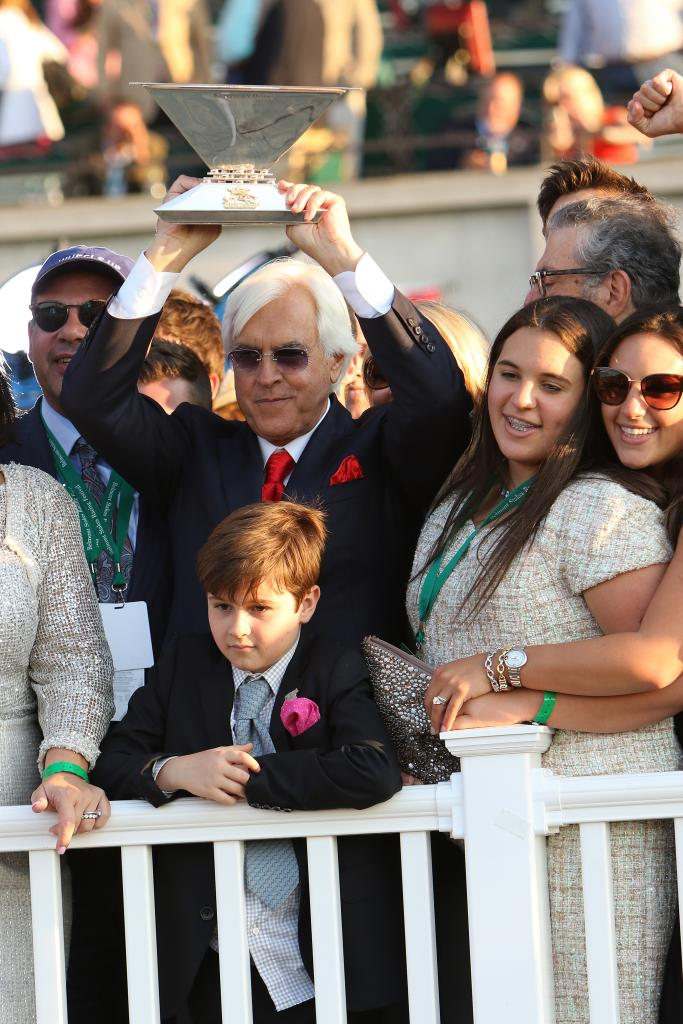 Baffert after American Pharoah completed his Triple Crown sweep in the 2015 Belmont Stakes. (Eclipse Sportswire)