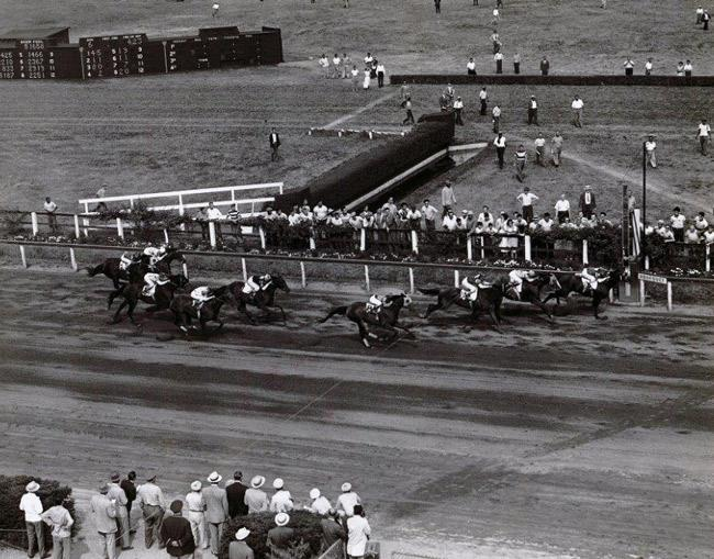 Assault hits the wire first in the Brooklyn Handicap. (Keeneland Library)