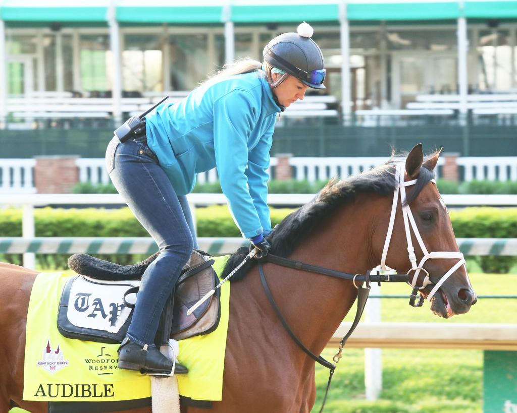 Audible exercising before his third-place finish in the 2018 Kentucky Derby. (Coady Photography)