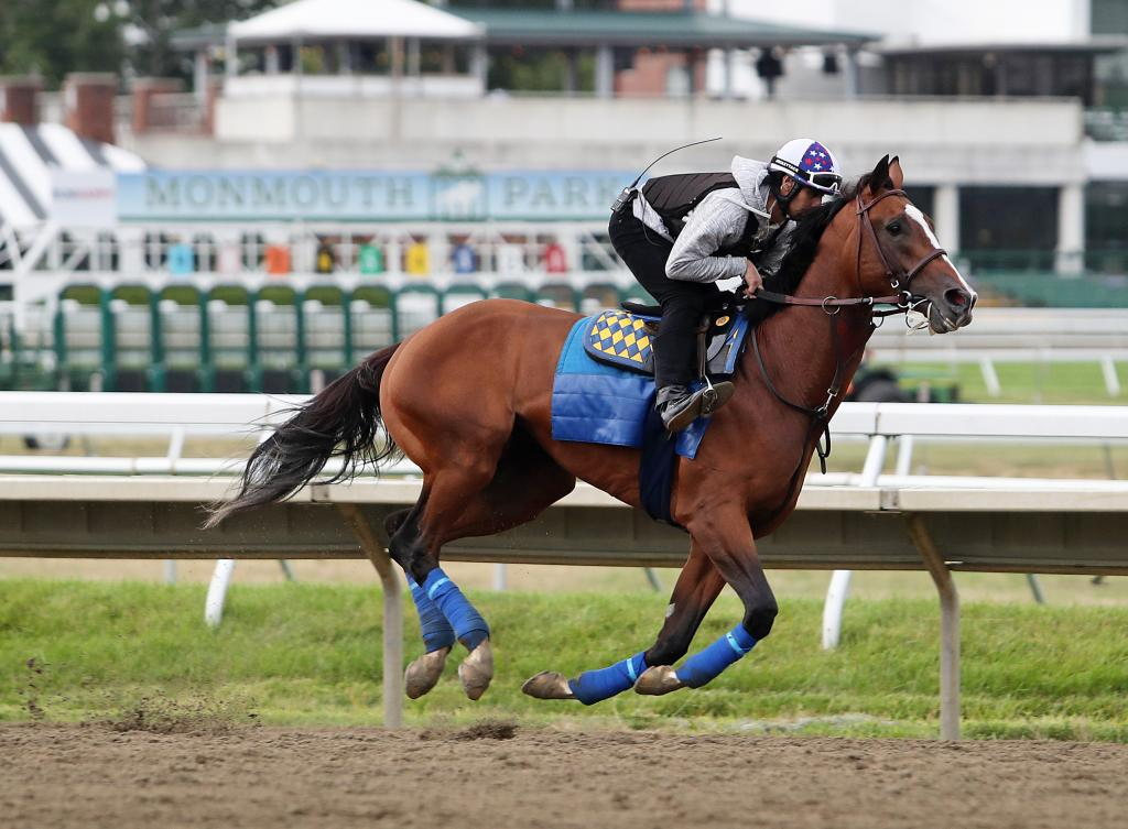 Grade 1 winner Authentic galloping at Monmouth Park.