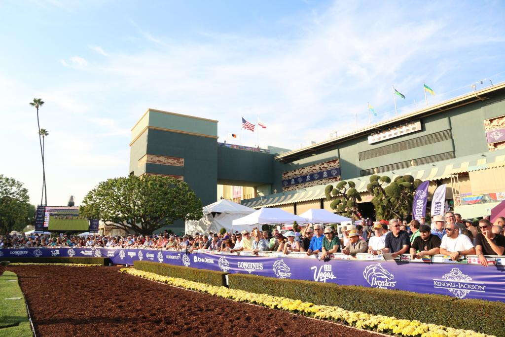 Santa Anita Park was packed for the Distaff, and fans lined every inch of the rail surrounding the paddock to catch a glimpse of the runners before the headline race of the afternoon. (Penelope P. Miller/America's Best Racing)