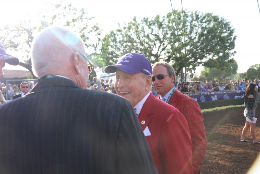 In a lovely moment, Beholder's owner, B. Wayne Hughes, and Songbird's owner, Rick Porter, exchanged smiles and wishes of good luck. I was moved by the sportsmanship of the two before such a huge race. (Penelope P. Miller/America's Best Racing)