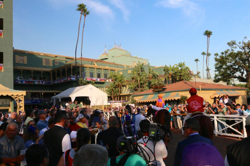 As the Distaff runners headed toward the track, people lined the walkway and stairs to see the fillies and mares on the way to the biggest race of their careers. (Penelope P. Miller/America's Best Racing)