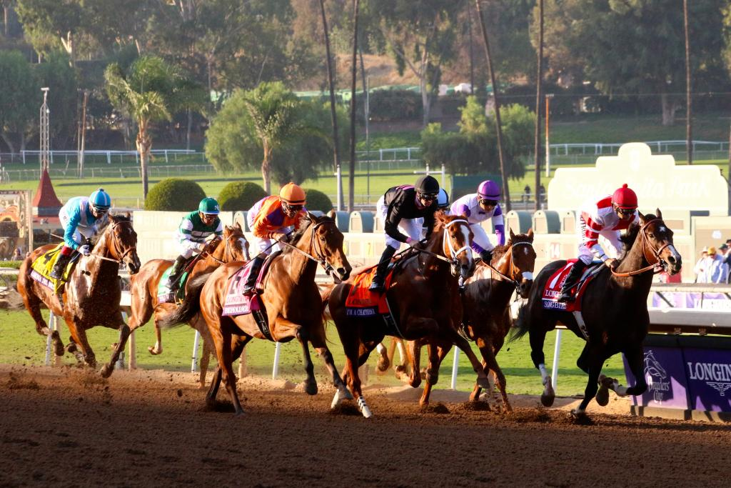 Moments later, it was time. With a clang of bells, the eight Distaff runners surged onto the track and toward the first turn. (Penelope P. Miller/America's Best Racing)
