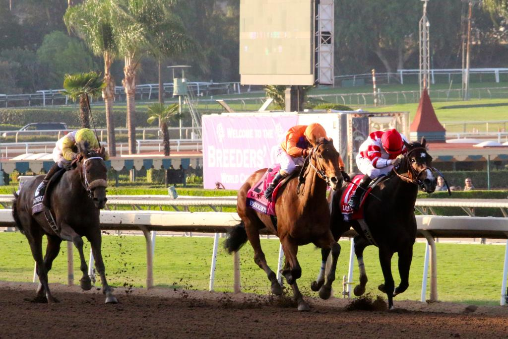 Because here came Beholder. The mare set her sights on Songbird, and one of the most outstanding stretch duels I've ever seen began. (Penelope P. Miller/America's Best Racing)