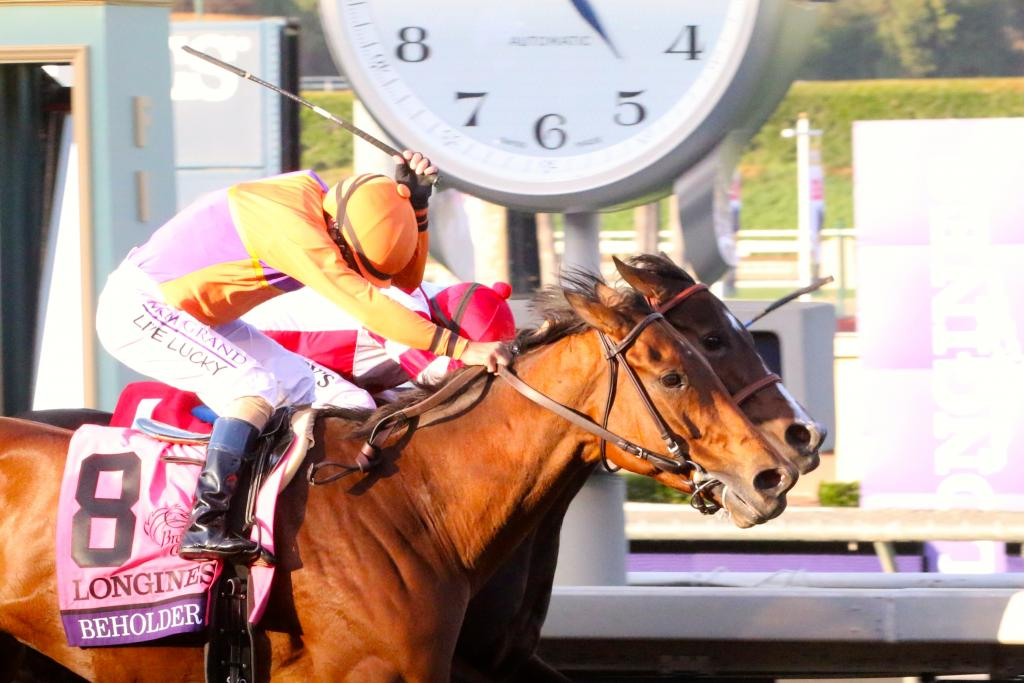 In the end, Beholder got her nose in front. It was honestly one of the most exciting races I've ever watched, and it was a privilege to see the filly and the mare in their element. (Penelope P. Miller/America's Best Racing)