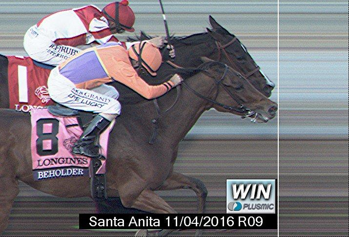 And if you're wondering how close that race really was, this is the official photo finish from Santa Anita Park. A flared nostril separated Beholder and Songbird at the finish line.