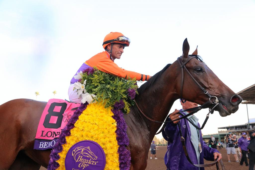 Jockey Gary Stevens heaped praise on Beholder as they headed into the winner's circle, stroking the mare's neck in appreciation for her amazing accomplishment. (Penelope P. Miller/America's Best Racing)