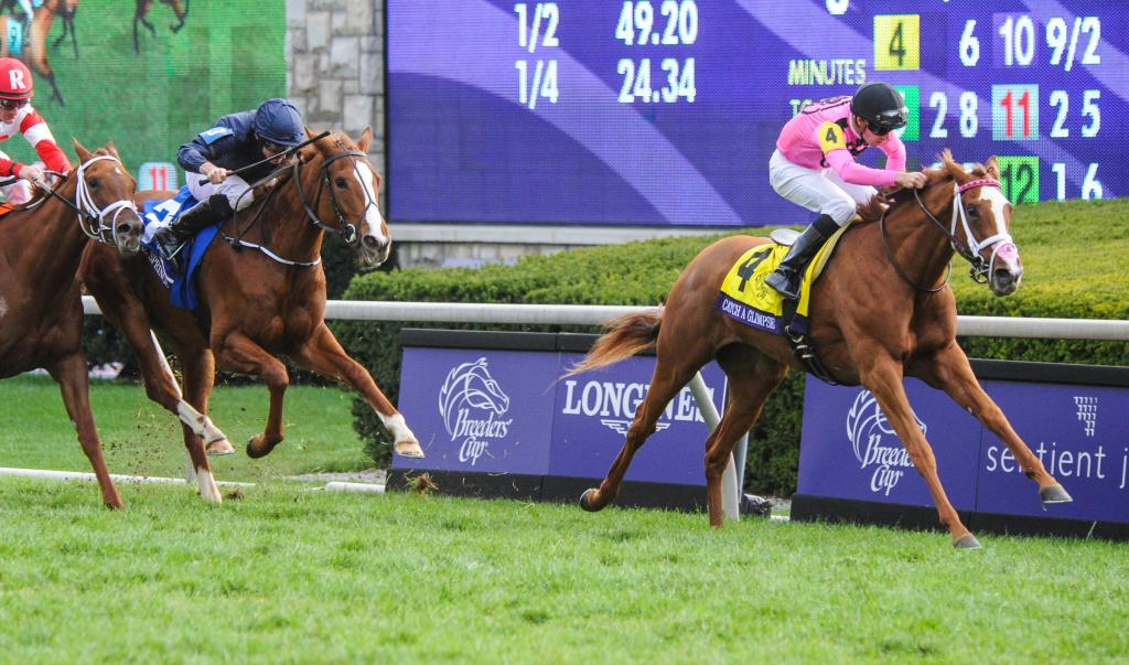 Florent Geroux guided Catch a Glimpse to victory in the Breeders' Cup Juvenile Fillies Turf.