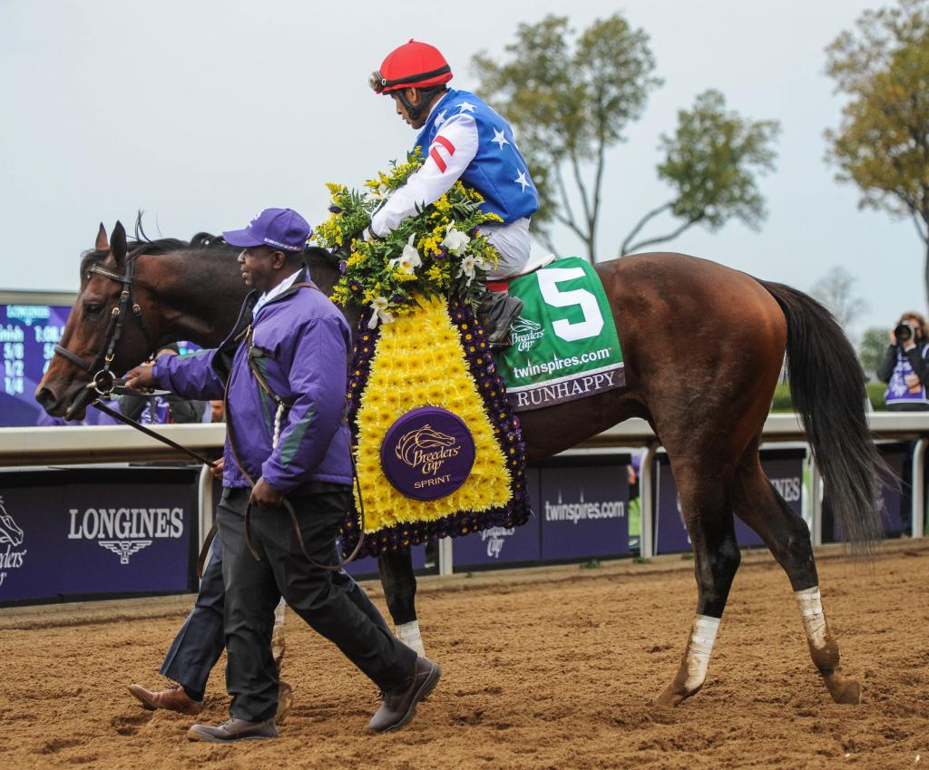 Edgar Prado guided Runhappy to victory in the TwinSpires Breeders' Cup Sprint.