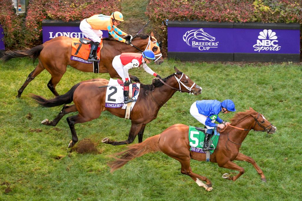 Line of Duty (#5) won a roughly-run Juvenile Turf. (Eclipse Sportswire)