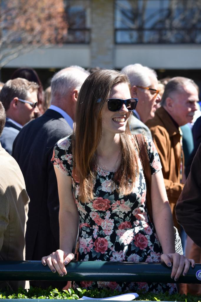 Spots on the paddock rail at Keeneland are at a premium, so finding one is also a cause for celebration. (Melissa Bauer-Herzog/America's Best Racing)