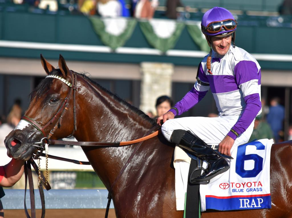 Although Irap was a maiden going into this race, that doesn't mean that a bad horse won the Blue Grass. Irap was second in the Los Alamitos Cash Call Futurity and Robert B. Lewis Stakes, so he's been lurking in the background of Triple Crown prep races. (Melissa Bauer-Herzog/America's Best Racing)