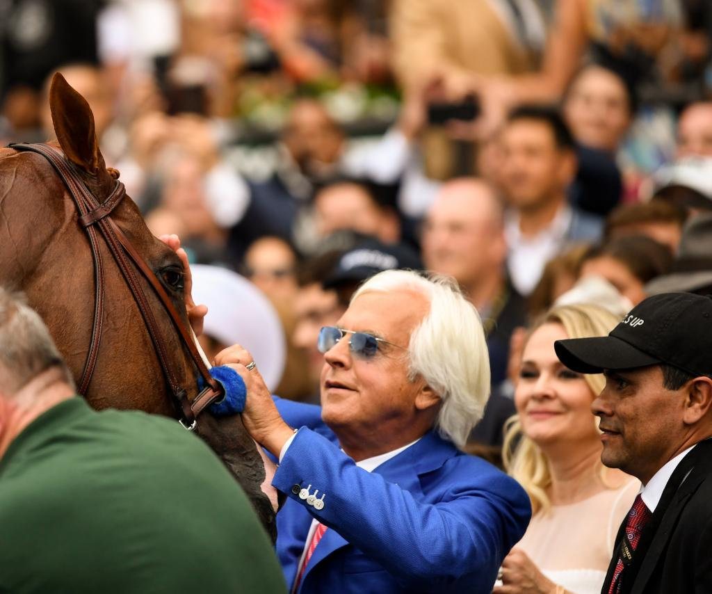 Baffert and Justify after winning the 2018 Belmont Stakes (Eclipse Sportswire)